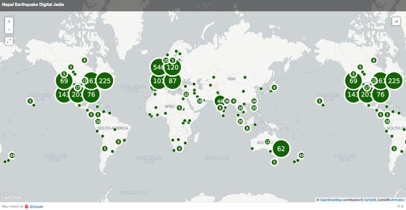 Carte mondiale des contributeurs