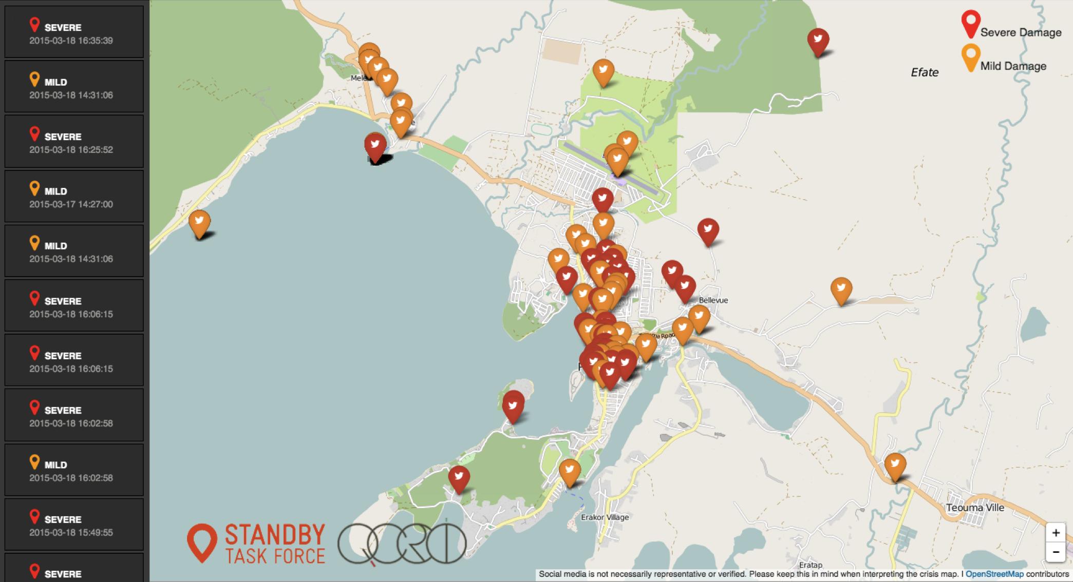 Carte numérique interactive des zones de crise
